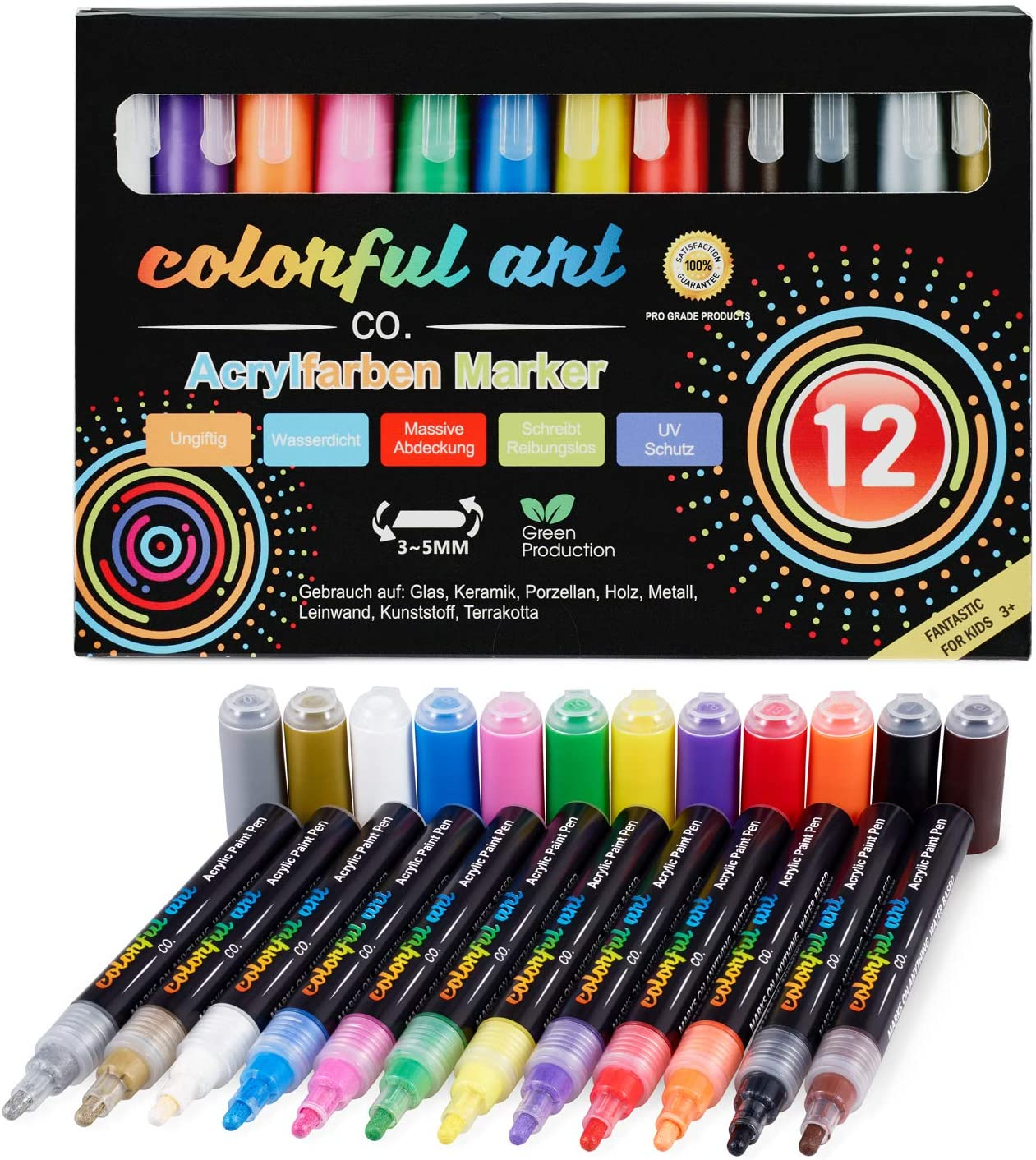 Artist Acrylic Colouring Pencils Set – 12 Colours – for Painting Stones