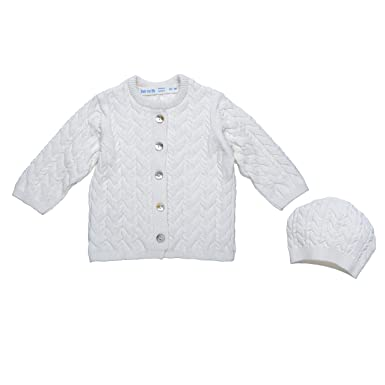 Amazon.com: Under The Nile Unisex-Baby Newborn Cable Knit Cardigan ...