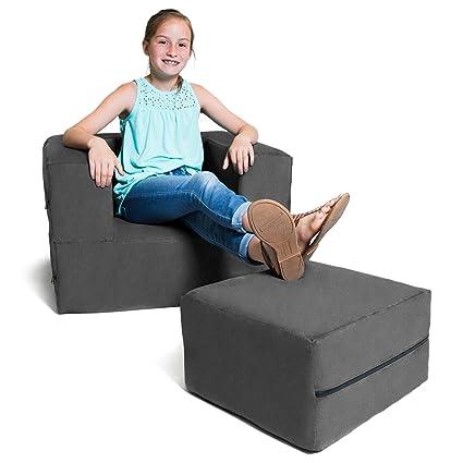 Tremendous Amazon Com Jaxx Zipline Kids Flip Chair Ottoman Big Kids Lamtechconsult Wood Chair Design Ideas Lamtechconsultcom
