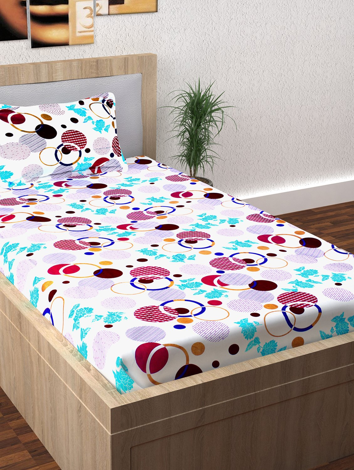7a8d6feaeb Story@Home Fantasy 1 Pc Collection 120 TC 100% Cotton White 1 Single  Bedsheet with 1 Pillow Cover: Amazon.in: Home & Kitchen
