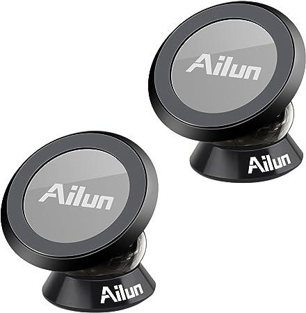 Ailun Auto Magnet Handyhalterung 2 Pack Universal Kfz Handyhalter Mit Superstarkem Magneten Einstellbar Für Iphone X 8 8 7 7 Für Samsung S9 S9 S8 S8 Oder Gps Gerät Schwarz Auto