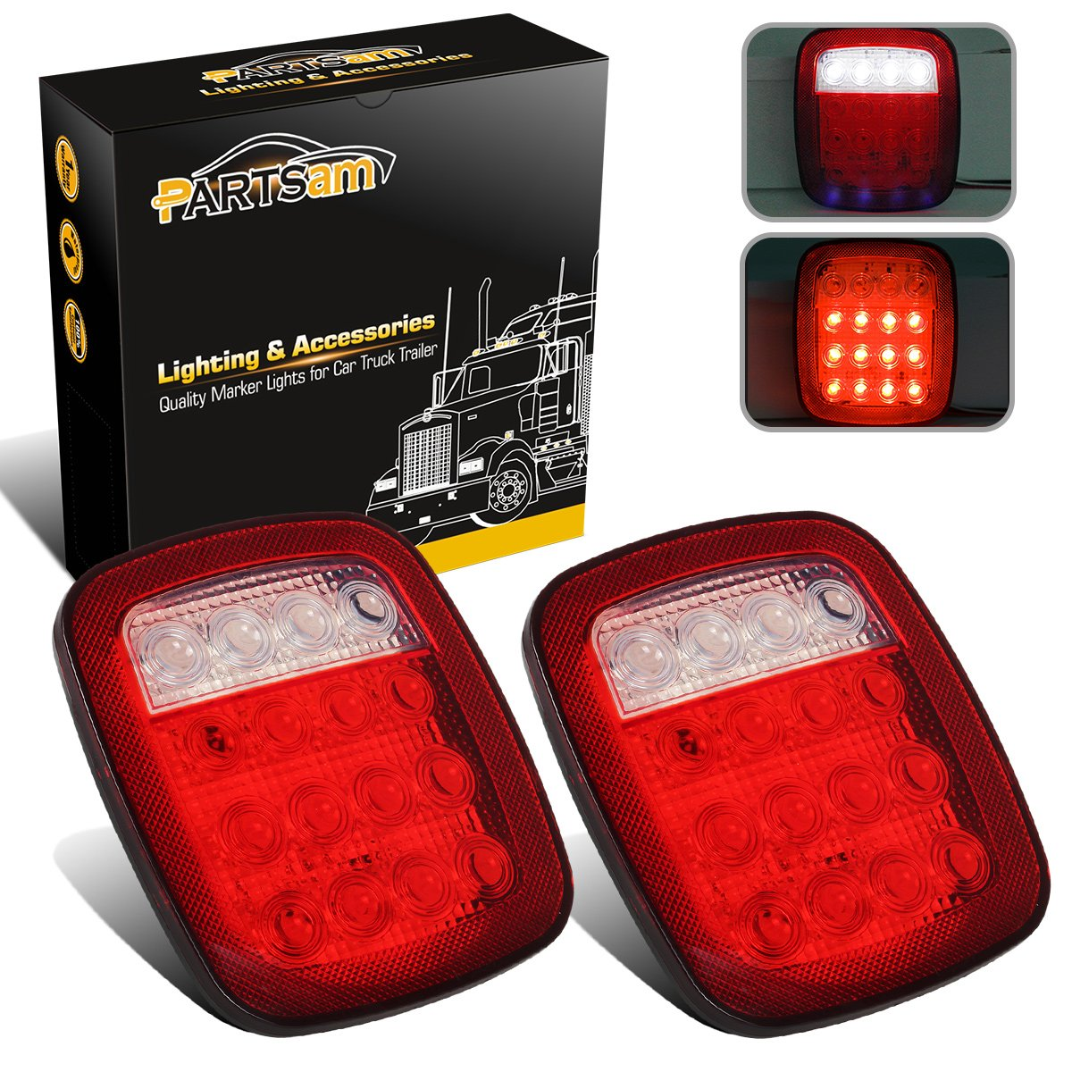 Partsam 2x Universal 16 LED Stop Tail Turn Signal Backup Reverse Brake Clearance Marker Lights Lamps Red/White for Truck Trailer Jeep YJ JK CJ Waterproof 12V