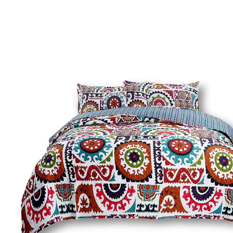DaDa Bedding ボヘミアン ワイルドファイアガーデン リバーシブルコットンキルト風寝具セット 明るく鮮やかなマルチカラーのレインボー 幾何学的な花柄 2~3点セット キング B01N5TIMR6  キング