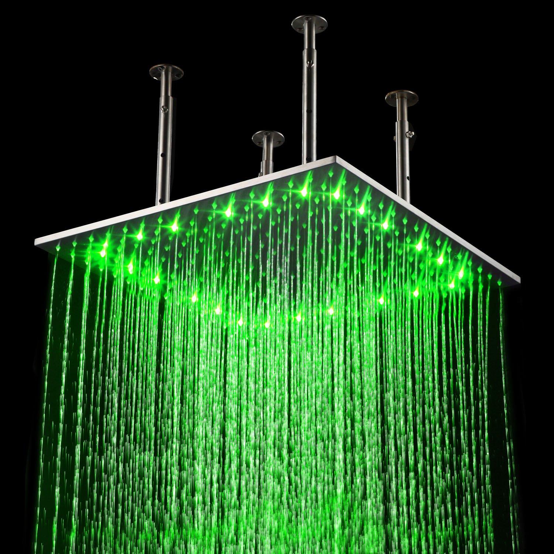 LightInTheBox 20 Inch Wall Mount Square Rainfall LED Shower Head ...