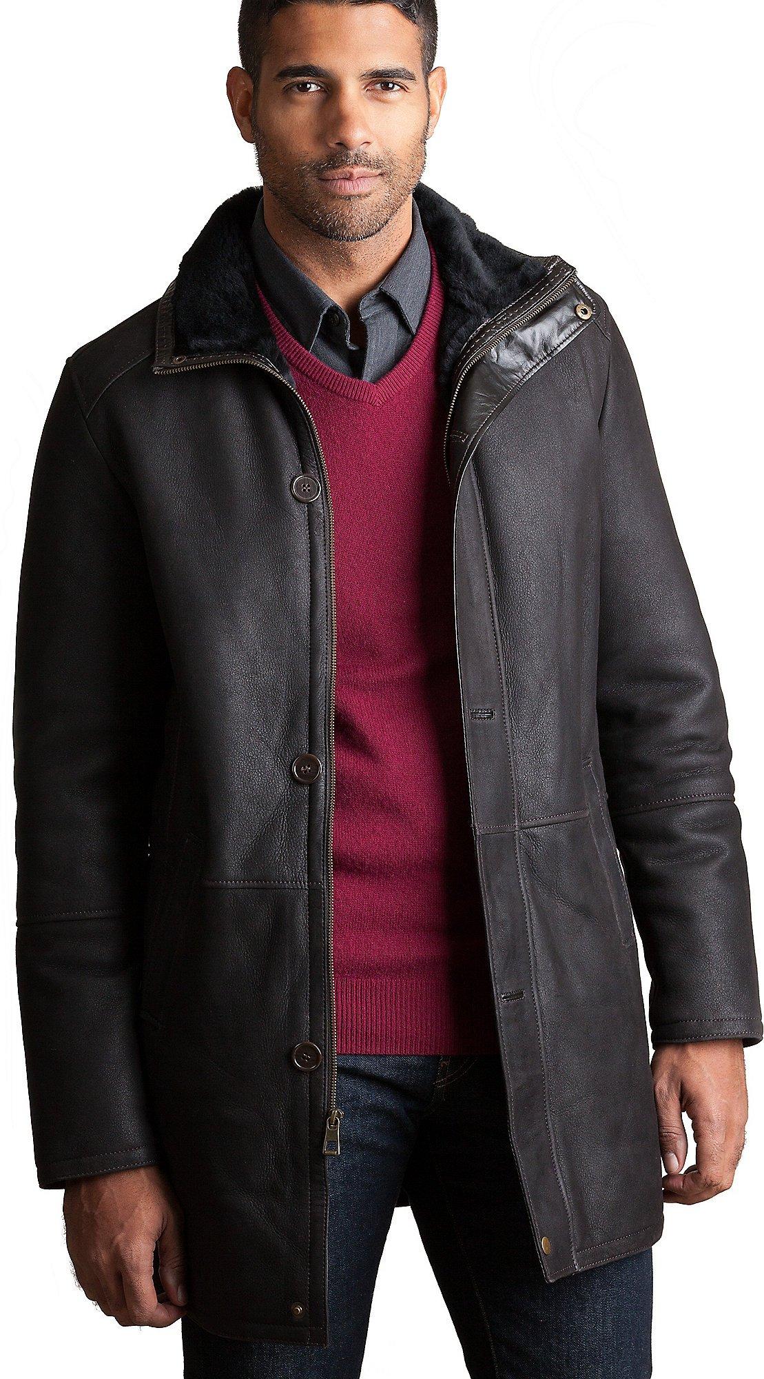 Overland Sheepskin Co. Anderson Spanish Merino Sheepskin Coat, Dark Brown, Size Medium (42)