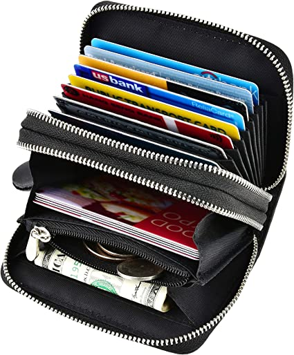 Girl Women Leather Ribbon Wallet Credit Card Holder Accordion Type Zipper Purse
