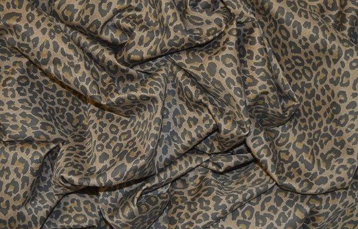 Marrón de leopardo Punk tejido elástico algodón elastano de sarga MATERIAL 58