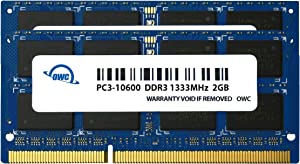 OWC 4.0GB (2X 2GB) 1333MHz 204-Pin DDR3 SO-DIMM PC3-10600 CL9 Memory Upgrade Kit, (OWC1333DDR3S04S)