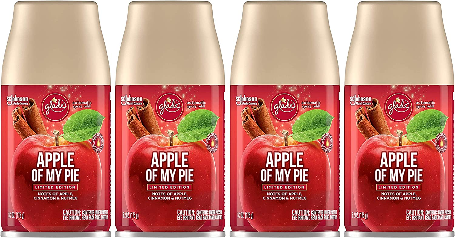 Glade Automatic Spray Refill - Apple of My Pie - Holiday Collection 2020 - Net Wt. 6.2 OZ (175 g) Per Refill Can - Pack of 4 Refill Cans