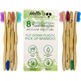 Bamboo Toothbrush for Adults 8-Pack Biodegradable Tooth Brush Set - Organic Eco-Friendly Moso Bamboo with Ergonomic Handles & Medium BPA Free Nylon Bristles | by HELLO BOO (8-Pack Adults)