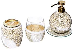 Mosaic Bathroom Accessories Set , 4 Piece Bath Accessory Sets With Gold Soap Dispenser , Toothbrush Holder , Tumbler And Ring Tray