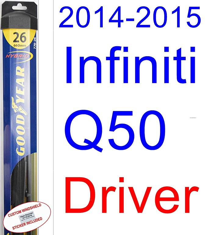 2014-2015 Infiniti Q50 Replacement Wiper Blade Set/Kit (Set of 2 Blades) (Goodyear Wiper Blades-Hybrid)