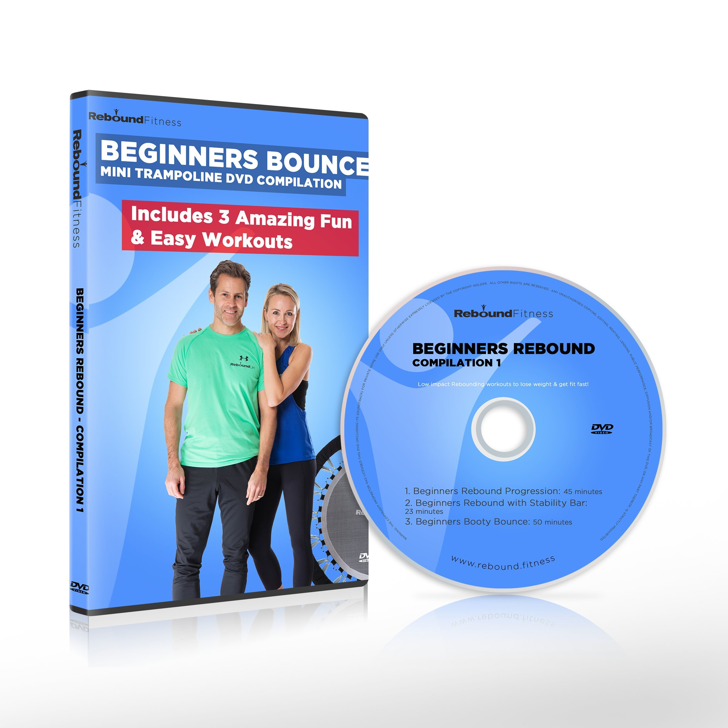 Beginners Bounce Mini Trampoline DVD Compilation. Includes 3 Amazing, Fun & Easy Rebounding Fitness Workouts to Help you Lose Weight & Tone Up! Claim 20% cash back on all our Rebounders. See below