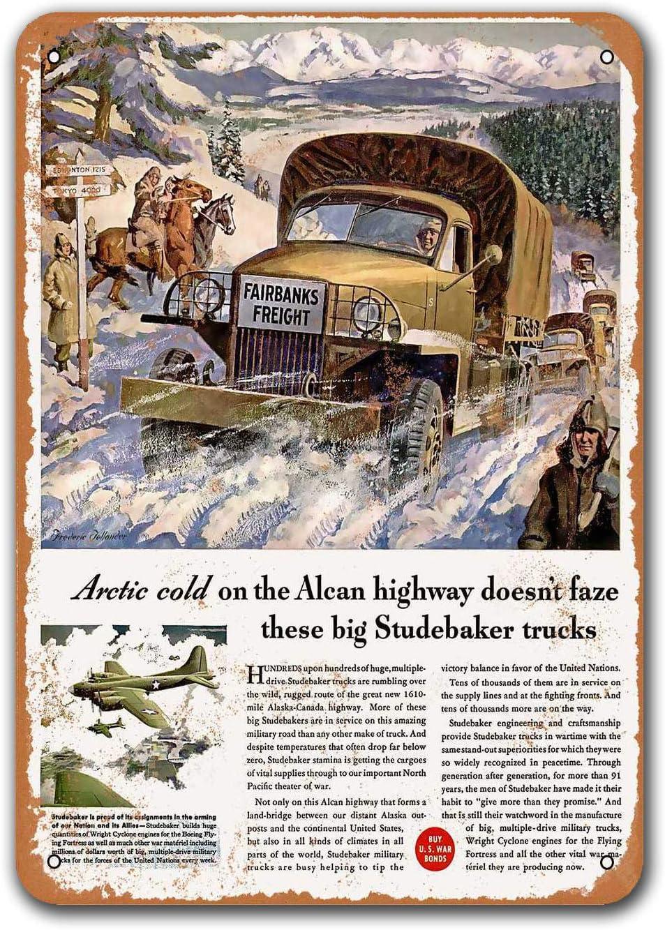 Sisoso Wall Decor Coffee Club Game Room 1943 Studebaker Trucks Alaska-Canada HWY Old Car Tin Sign Vintage Metal Bar Poster Bar Pub Restaurant 8x12 inches