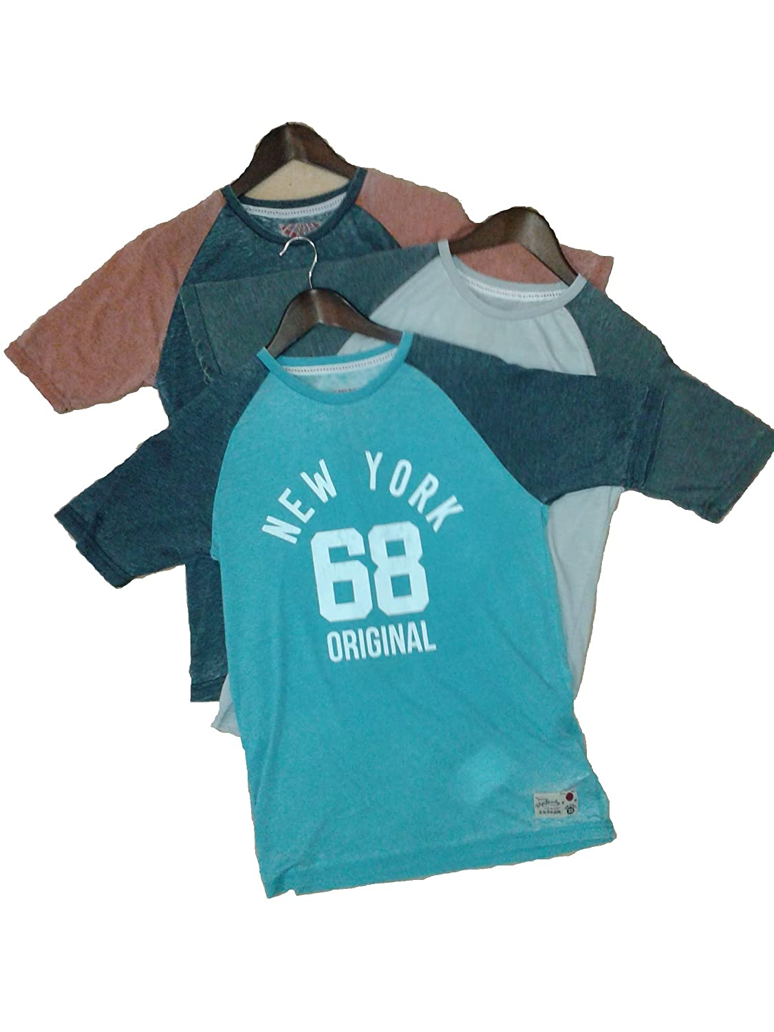 Tokyo Laundry Men Raglan Sleeve Burn Out Tshirt Tee Top New York Collegiate Varsity style Print. Style 1C4403