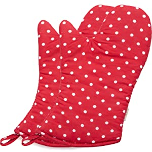 NEOVIVA Polka Dots Oven Mitts for Everyday Fun Kitchen, Cute Red Oven Mitt Set of 2 for Large Hands, Polka Dots Lollipop Red