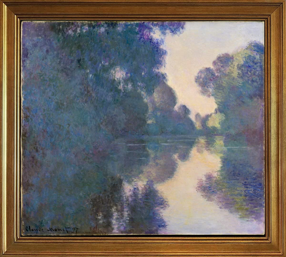 Amazon Com Classic Framed Claude Monet Giclee Canvas Print Paintings Poster Reproduction Morning On The Seine Near Giverny Posters Prints