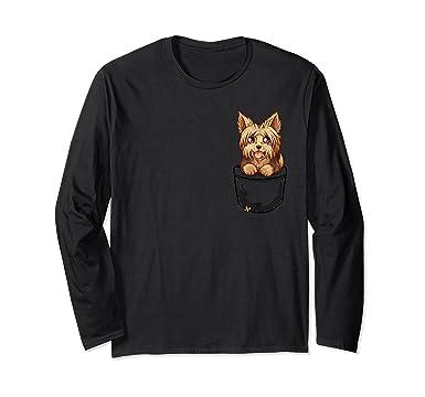 Amazoncom Pocket Cute Yorkie Yorkshire Terrier Long Sleeve T