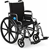 """Medline Lightweight and User-Friendly Wheelchair with Flip-Back Desk Arms and Swing-Away Leg Rests for Easy Transfers, Gray, 20"""" x 18"""" Seat"""