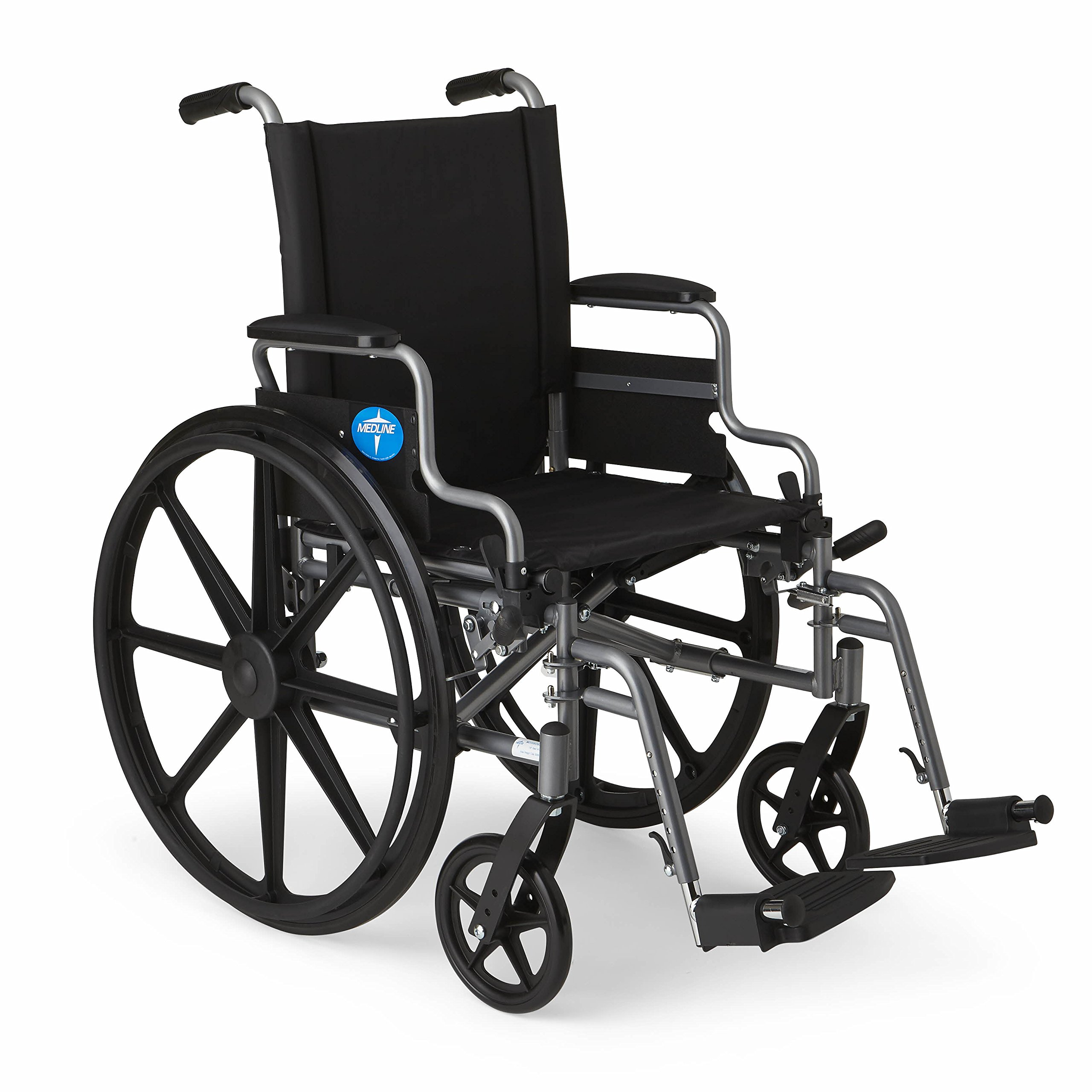 """Medline Lightweight and User-Friendly Wheelchair with Flip-Back Desk Arms and Swing-Away Leg Rests for Easy Transfers, Gray, 16"""" x 16'' Seat"""