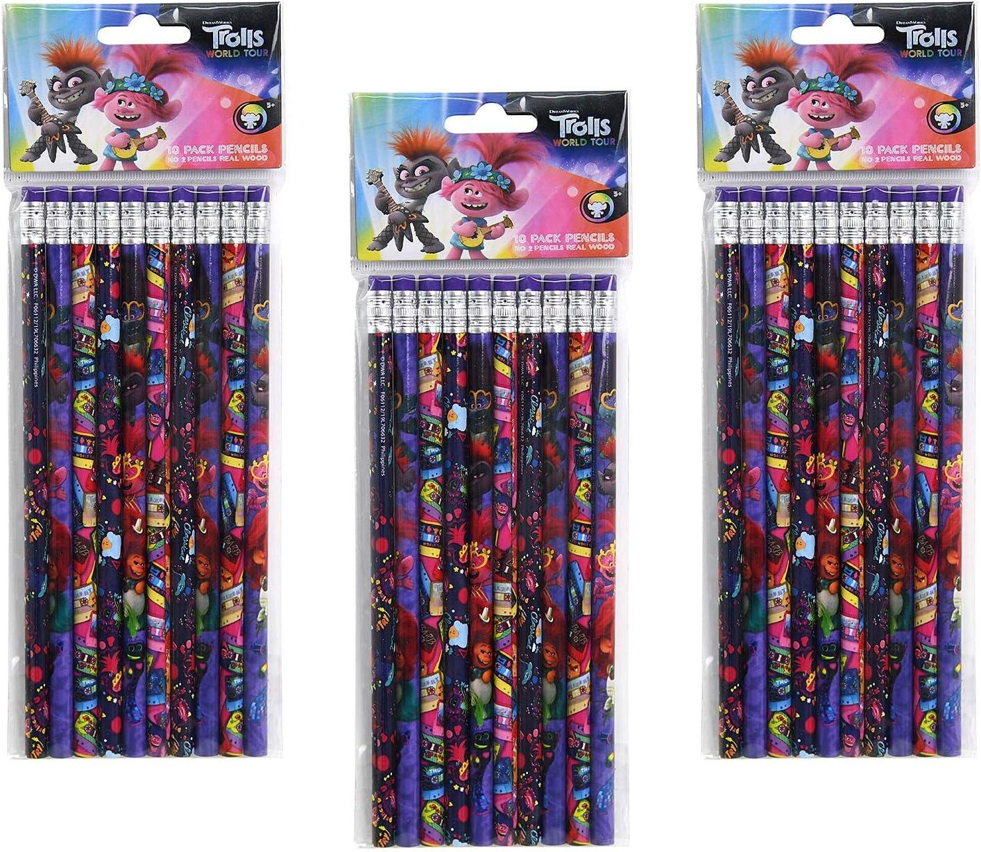 30 Total 3-Pack Trolls World Tour 10ct #2 Wood Pencils