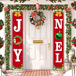 ORIENTAL CHERRY Christmas Decorations Outdoor - Joy Noel Porch Signs Banners - Red Large Xmas Navidad Holiday Decor for Home Indoor Exterior Front Door Yard Living Room Wall Apartment Party