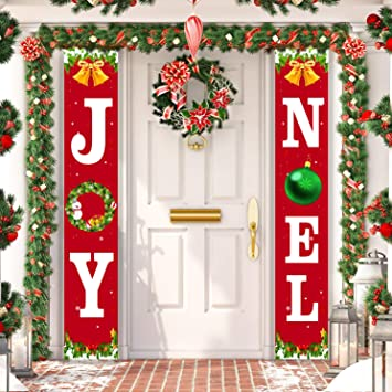 Oriental Cherry Christmas Decorations Outdoor Joy Noel Porch Signs Banners Red Large Xmas Navidad Holiday Decor For Home Indoor Exterior Front