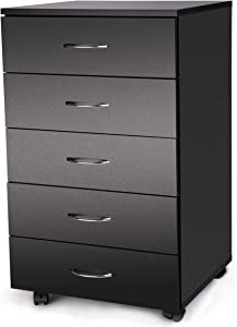 TUSY 5 Drawer Cabinet Dresser, Mobile Cabinet Modern Chest of Drawers, File Cabinet Storage Organizer Cabinet Under Desk Home Office, Night Stand