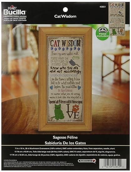Bucilla Counted Cross Stitch Kit, 7 by 16-Inch, 45851 Cat Wisdom