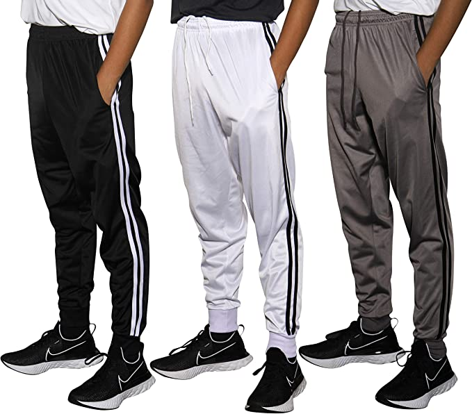 Boys Youth Active Athletic Soft Fleece Jogger Sweatpants Real Essentials 3 Pack