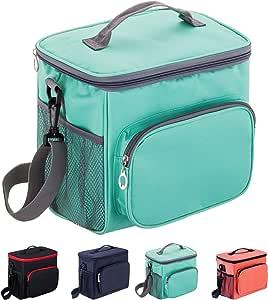 Adult Lunch Box Insulated Lunch Bag Large Cooler Tote Bag for Men & Women, Double Deck Heat-resistant Cooler with Adjustable Shoulder Handbag (blue)
