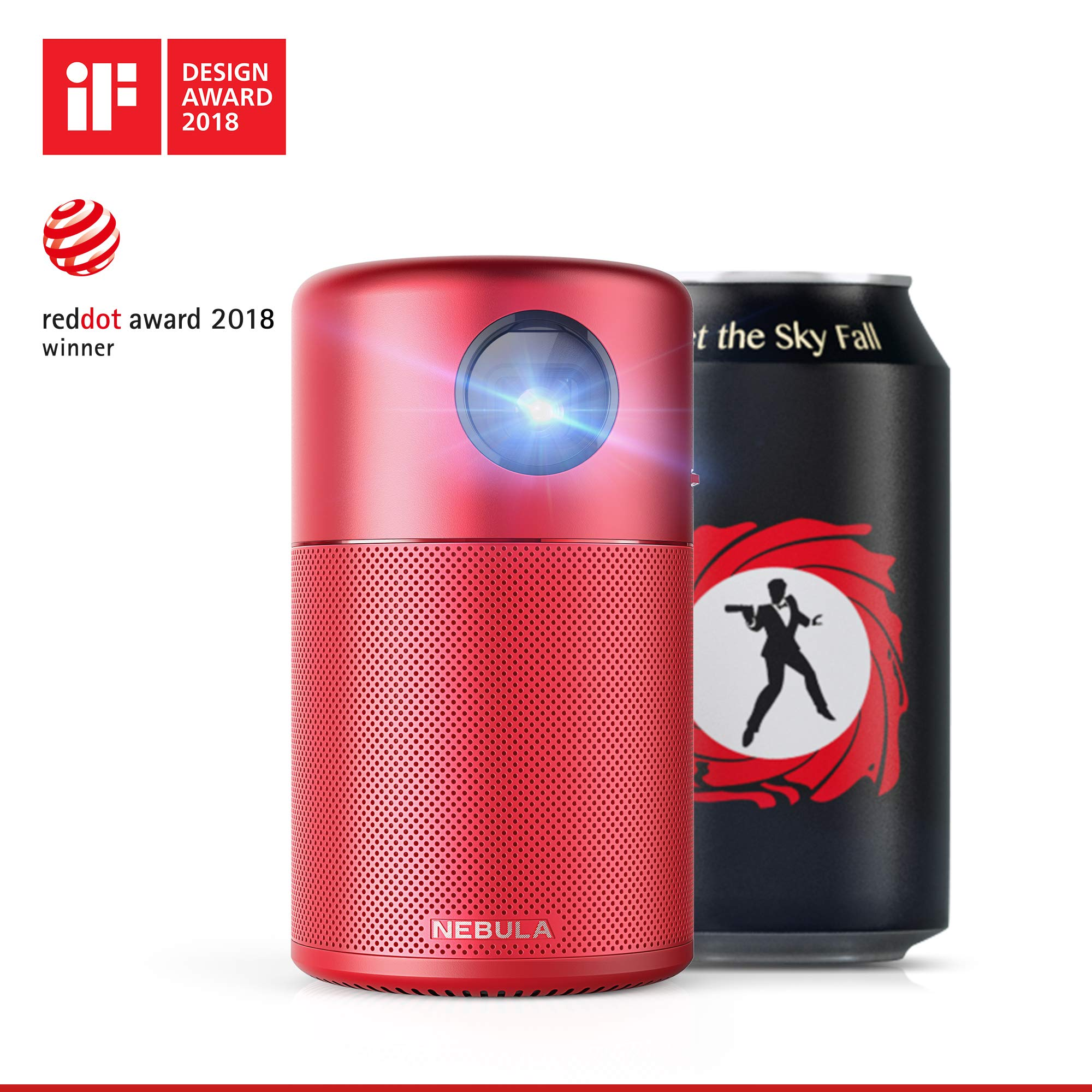 Nebula Capsule Smart Mini Projector, by Anker, Portable 100 ANSI lm High-Contrast Pocket Cinema with Wi-Fi, DLP, 360° Speaker, 100'' Picture, Android 7.1, 4-Hour Video Playtime, and App-Red by Anker (Image #2)