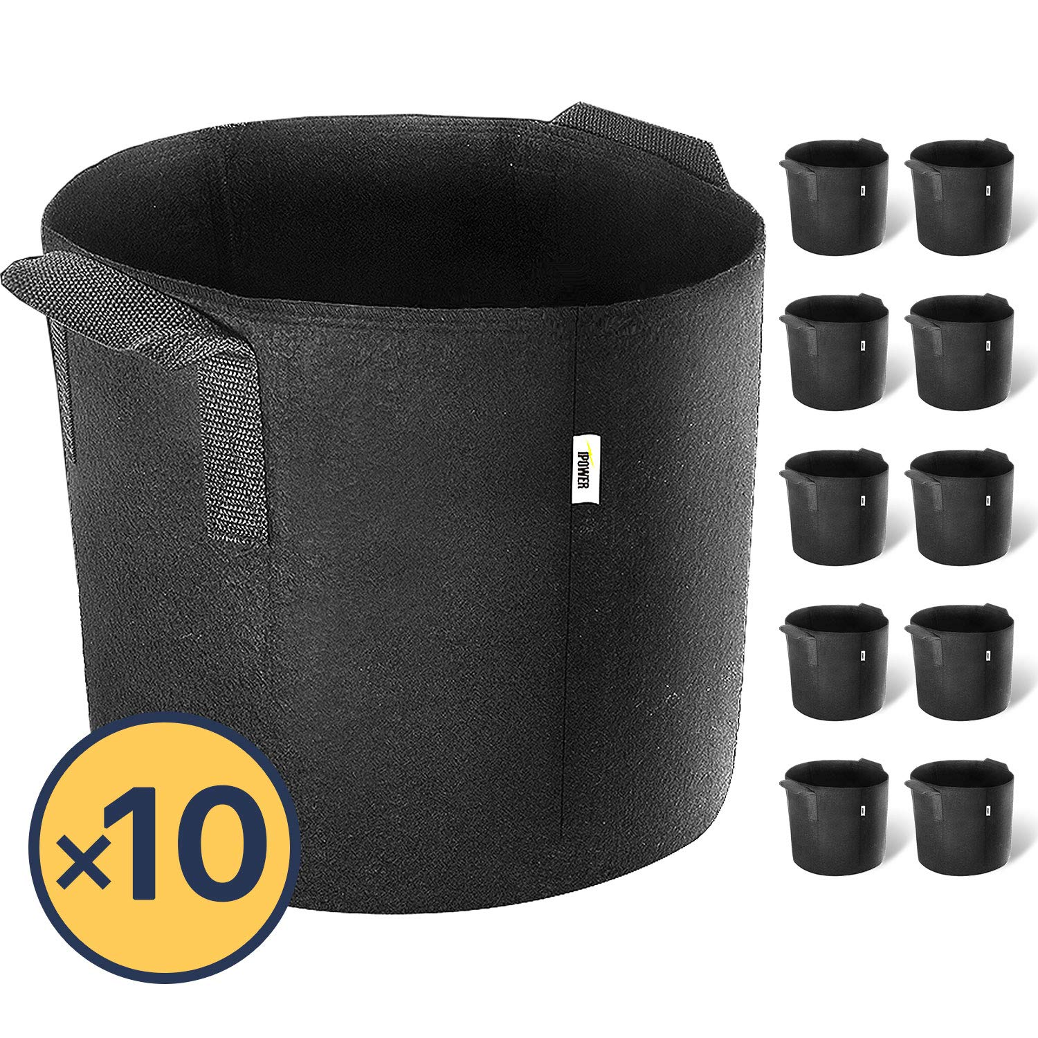 iPower 3-Gallon 10-Pack Grow Bags Fabric Aeration Pots Container with Strap Handles for Nursery Garden and Planting(Black)