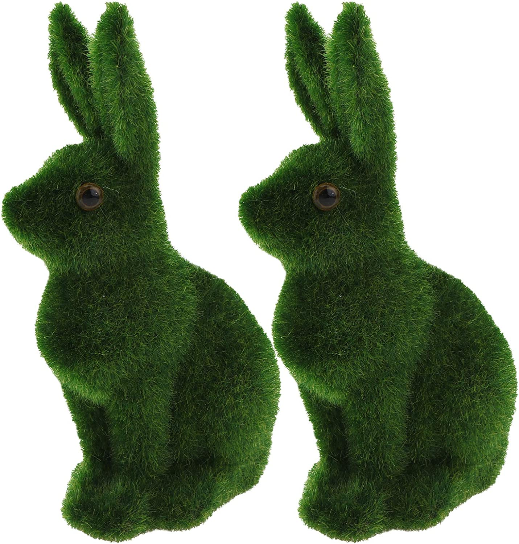 VORCOOL 2pcs Moss Rabbit Decor Artificial Bunny Miniature Figures Green Moss Bunny Ornament for Easter Party Garden Lawn Decor