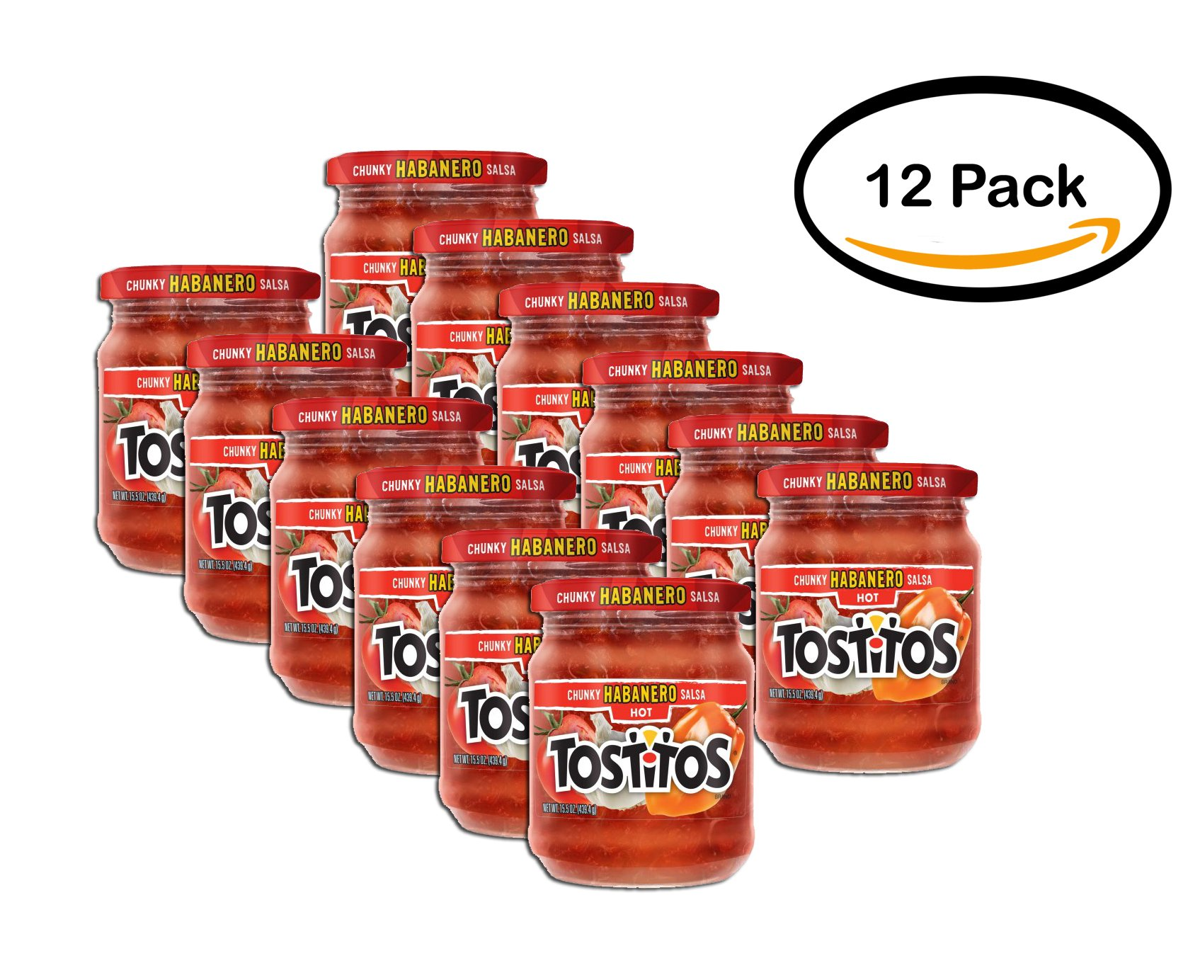 PACK OF 12 - Tostitos Chunky Salsa, Habanero HOT, 15.5 oz Jar by Tostitos