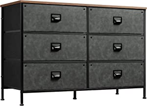 WLIVE Wide Dresser with 6 Drawers, Industrial TV Stand, Entertainment Center with Metal Frame, Wooden Top, Fabric Storage Dresser for Bedroom, Hallway, Entryway, Black