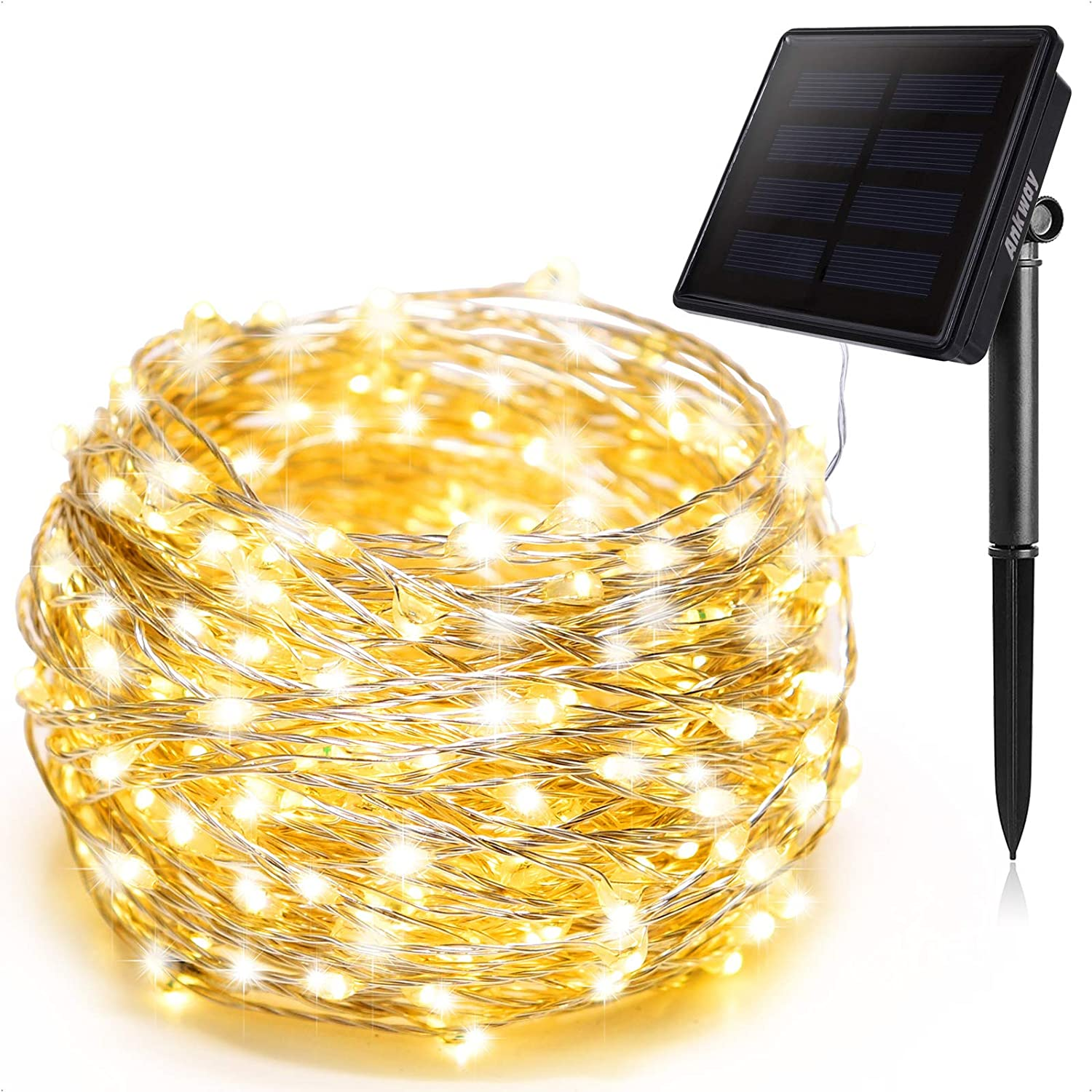 Solar String Lights Warm White, Ankway 200 LED Solar Powered String Lights 3-Strand 8 Modes 72 ft Waterproof IP65 Solar Fairy Lights for Outdoor Home Window Bedroom Patio Garden Tree Wedding Party