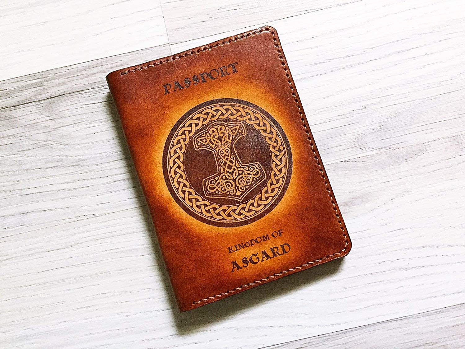 Asgardian Asgard Citizen Personalized leather handmade passport cover holder wallet custom travel gifts accessories