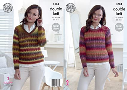 King Cole Ladies Double Knitting Pattern Womens Raglan Sleeve Lacy ... 1bf858ca8