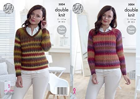 King Cole Ladies Double Knitting Pattern Womens Raglan Sleeve Lacy