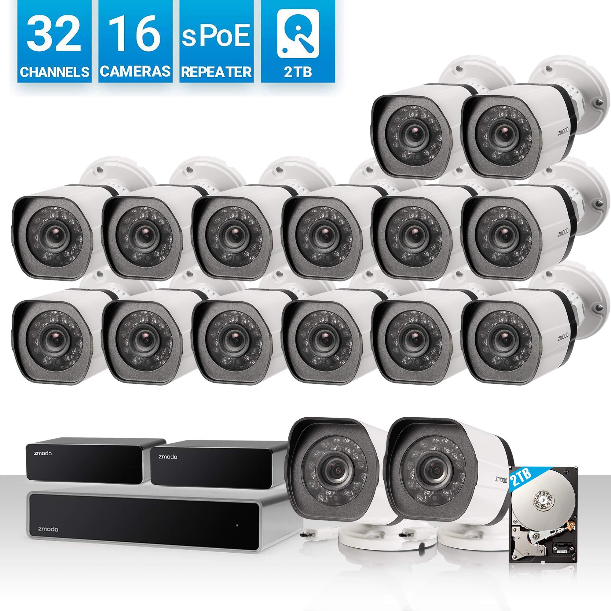 Zmodo 32 Channel 1080P HDMI NVR Security System 16 x720P IP Outdoor/Indoor Surveillance Camera, w/sPoE Repeater for Flexible Installation & Extension, Customizable Motion Detection, w/2TB Hard Drive by Zmodo