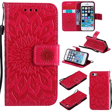 low priced 338e5 7aeeb iPhone SE /iPhone 5S Case,Pu Magnetic Flip Folio Wallet Case [Durable]  Lightweight Kickstand Folding Case with Credit Card Holder Xmas Birthday  Gift ...