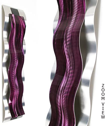 Rhythmic Curves, Purple Vertical Modern Abstract Metal Wall Art Sculpture Purple Painting Home Decor