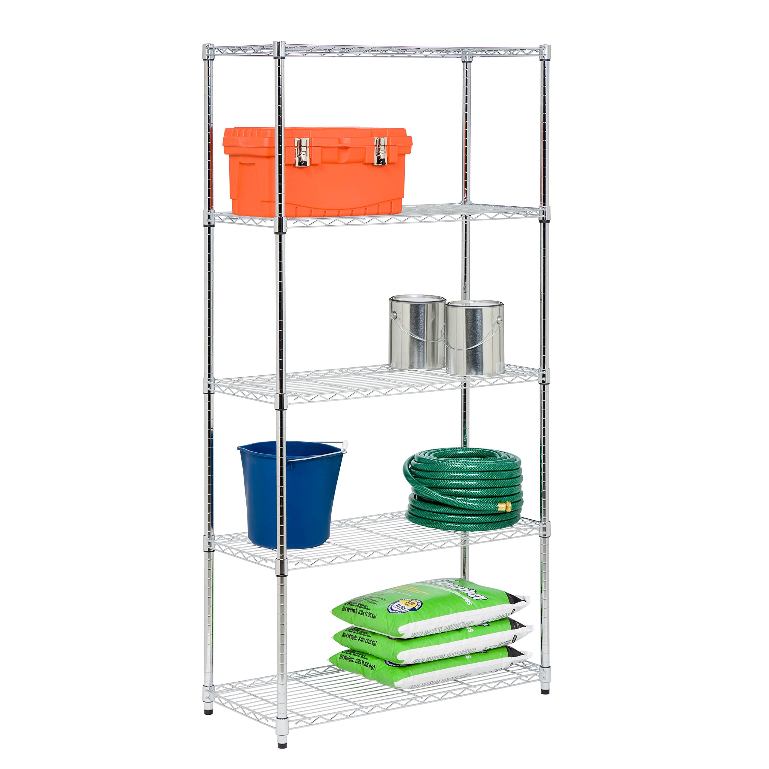 Honey-Can-Do SHF-06832 5-Tier Black Storage Shelves 18-Inches x 36-Inches x 72-Inches, Chrome Plated