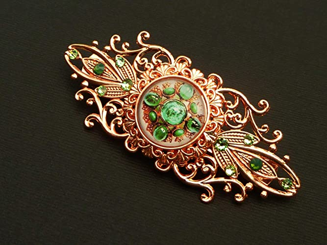 6e2d0d9f2fda Elegant hair clip with gem motif in green rose gold  Amazon.co.uk  Handmade