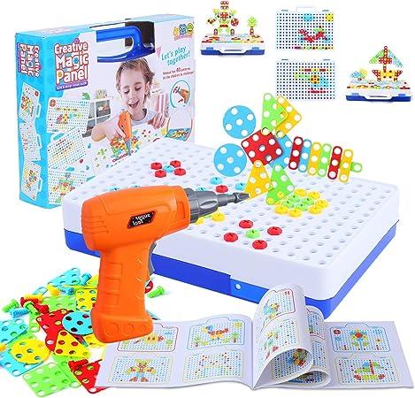 C 151 Piezas Juguetes Montessori Puzzles 3D Mosaicos Infantiles con Taladro El/éctrico Desmontable FORMIZON Tablero de Mosaico Infantiles Juegos Educativos Regalos Juguetes para Ni/ños de 3 4 5 A/ños