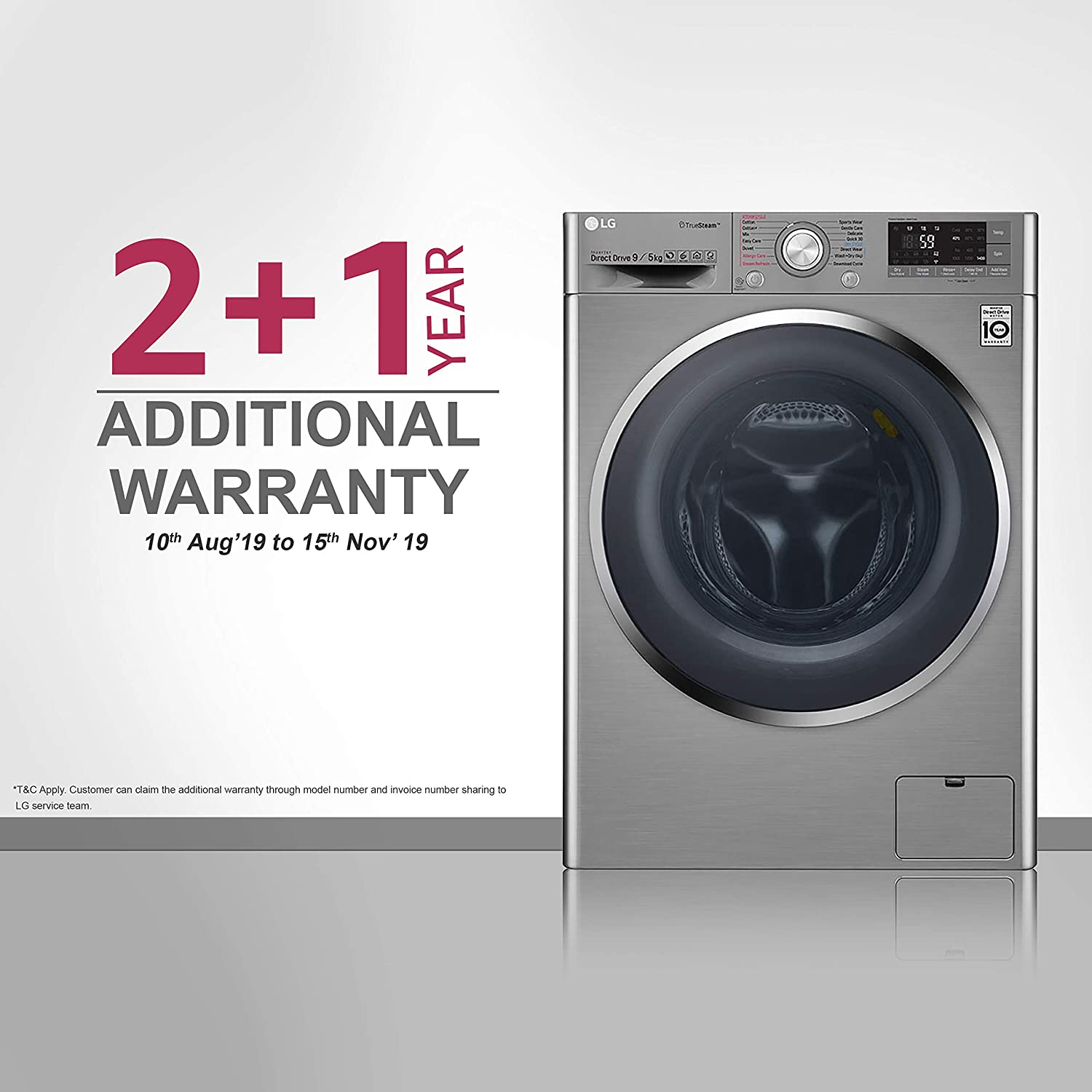 LG 9 kg Inverter Fully-Automatic Front Loading Washer Dryer  (F4J8VHP2SD AESPEIL, Luxury Silver, Inbuilt Heater)