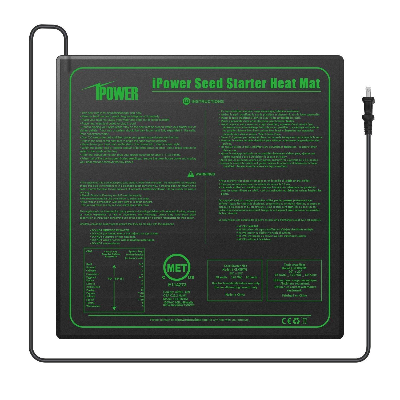 iPower Durable Waterproof Seedling Heat Mat 20'' x 20'' Warm Hydroponic Heating Pad MET Standard
