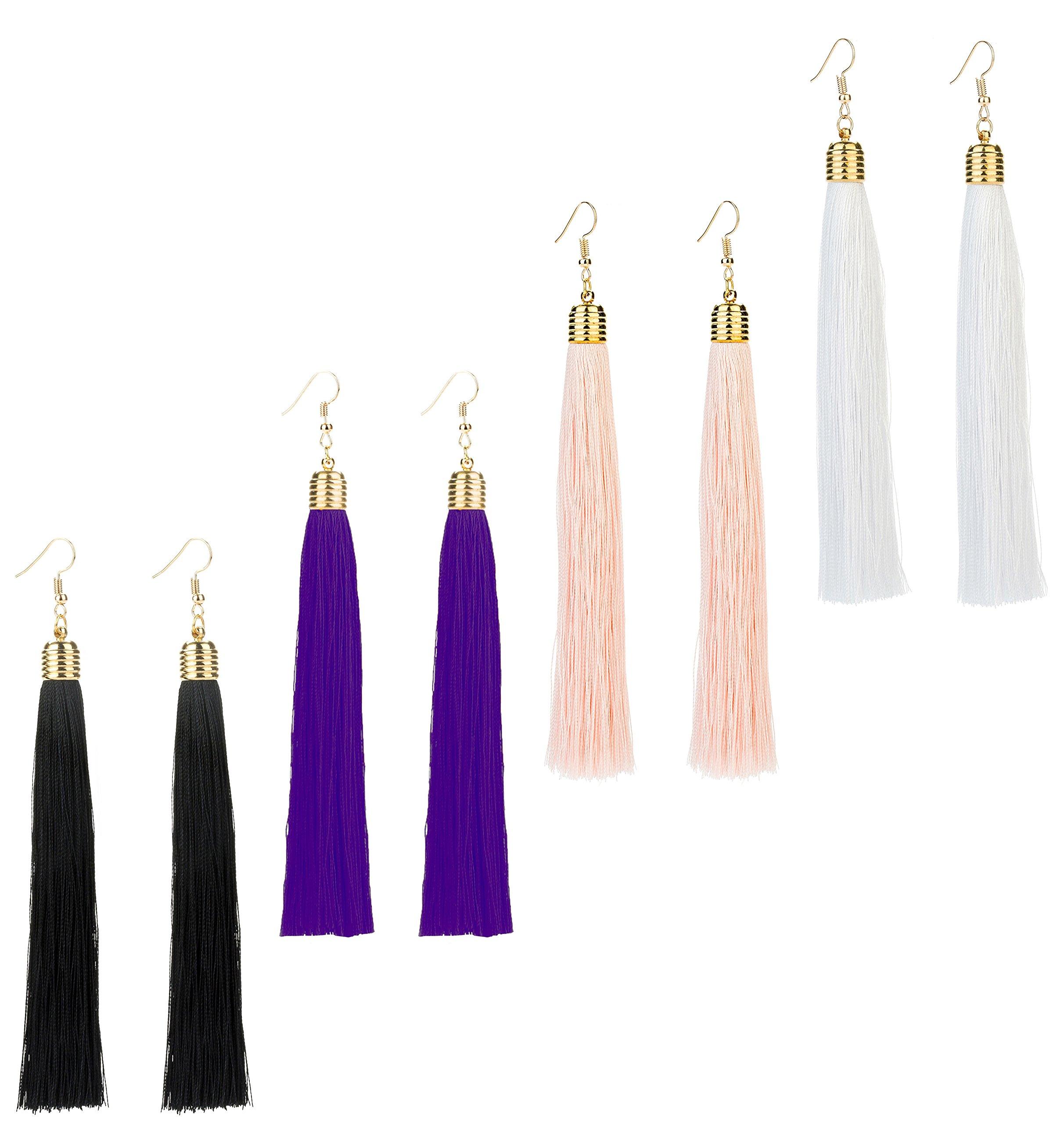 REVOLIA 3 Pairs Womens Long Tassel Dangle Earrings for Girls Fringe Drop Earrings Elegant