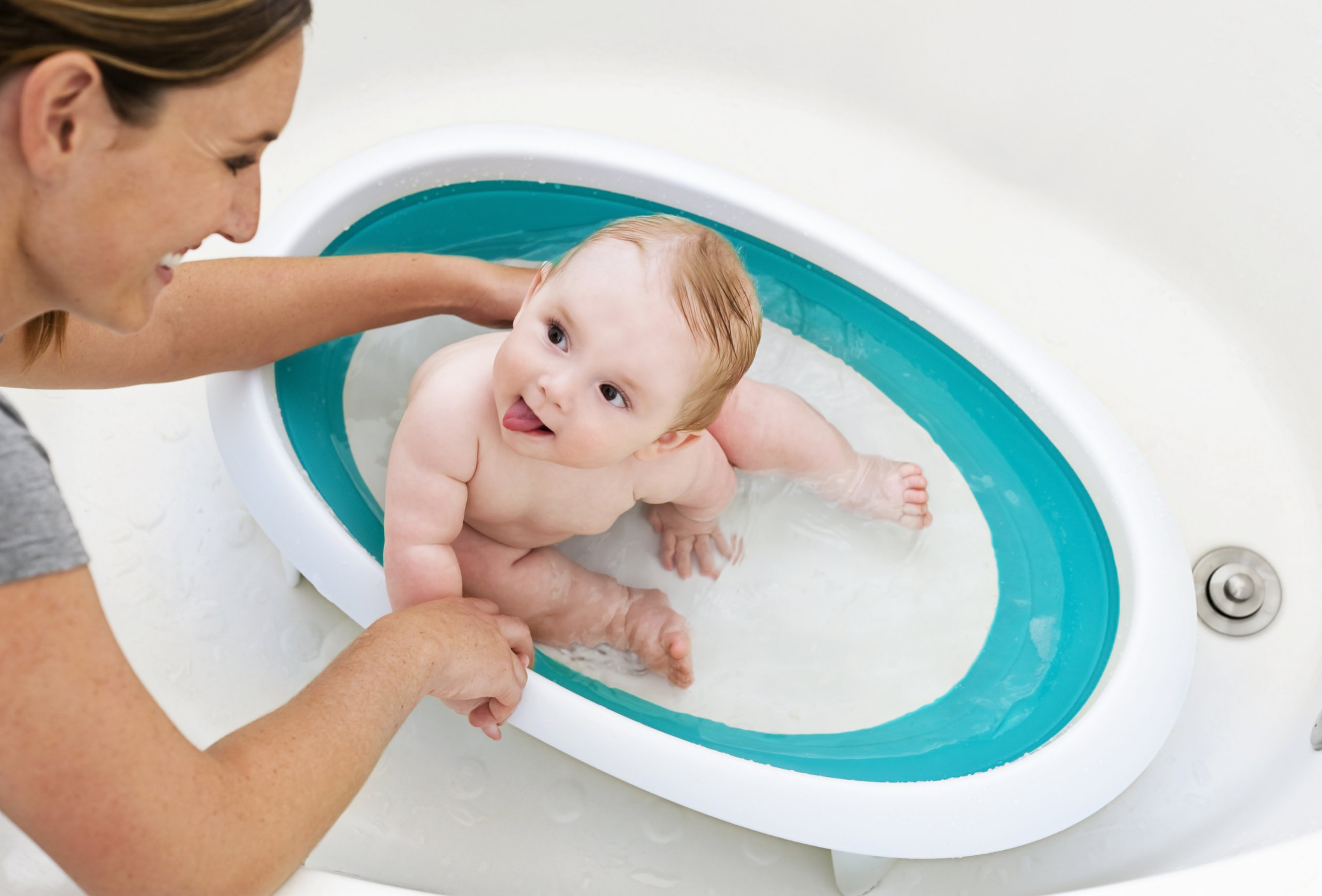 Boon Naked Collapsible Baby Bathtub Blue,Blue/White by Boon (Image #3)